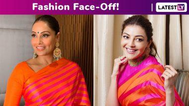 Fashion Face-Off: Kajal Aggarwal or Bipasha Basu? Whose Raw Mango Striped Saree Chicness Was Better?