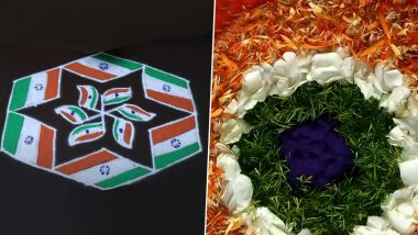 Easy Independence Day 2020 Rangoli Designs and Tricolour Muggulu Images: Beautiful Pookalam Patterns and Flower Kolams to Adorn Your Doorway on 15th August (Watch Videos)