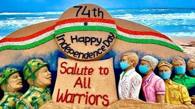 Independence Day 2020 Sand Art: Sudarsan Pattnaik Creates Beautiful Artwork Saluting COVID-19 Warriors and Brave Soldiers of Indian Army at Odisha's Puri Beach (See Picture)