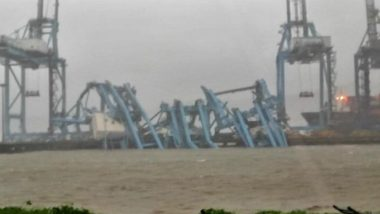 Mumbai Rains: Gantry Cranes at JNPT Collapse as Strong Winds Up To 107 Kmph Hits City, See Pics and Video From Uran-Nhava Sheva