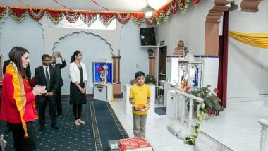 Jacinda Ardern Visits Radha Krishna Temple in New Zealand, Participates in 'Aarti' And Relishes Chhole Puri Ahead of Elections (Watch Pics And Video)