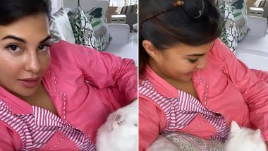 Jacqueline Fernandez Is Having a Pink Pyjama Moment With Her Cat!