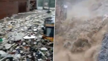 Jaipur Rains in Pics and Videos: Rajasthan Capital Ravaged With Severe Rainfall, Netizens Share Terrifying Visuals of Flooded Streets, Submerged Vehicles and Waste Returning on Road