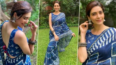 Karishma Tanna Is Incredible in Indigo, Her Saree Vibe Is Unmissably Chic!