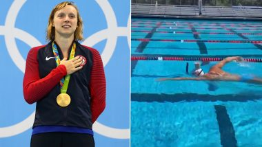 Katie Ledecky, US Olympic Champion, Stuns Netizens by Swimming With a Glass of Milk Balanced on Her Head (Watch Viral Video)