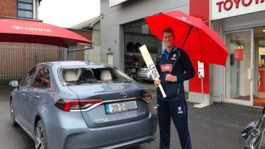 Ireland Batsman Kevin O'Brien Smashes Own Car Window with a Six During Domestic T20 Match