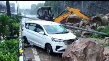 Landslide at Western Express Highway Near Kandivali, Narrow Escape For Motorists Amid Heavy Rain in Mumbai (Watch Video)