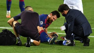 Lionel Messi Injury Update: Barcelona Coach Quique Setien Confirms Argentine Star Took a 'Fierce Knock' on Left Leg During UCL 2019–20 Match Against Napoli