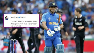 MS Dhoni's Retirement at 7:29 PM Carries Uncanny Connection With India's Defeat Against New Zealand in 2019 World Cup Semi-Final, Here's Why