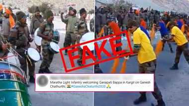 Viral Video of Maratha Light Infantry Welcoming Ganapati Bappa in Kargil is NOT From Ganesh Chaturthi 2020, Here's The Truth About Old Clip
