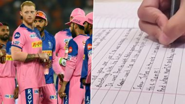IPL 2020: Rajasthan Royals Receive Emotional Letter from 'Special Fan' Ahead of Indian Premier League 13 (View Post)