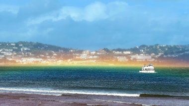 Rare Flat Rainbow Spotted Borough of Torbay on Devon Coast After Storm Francis, Stunning Pictures Go Viral