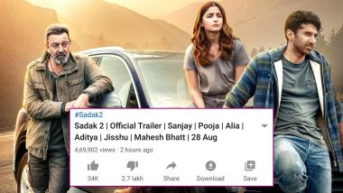 Sadak 2 Trailer: Sanjay Dutt and Alia Bhatt's Film Promo Garners Dislikes in Lakhs on YouTube Thanks to The Ongoing Sushant Singh Rajput Controversy