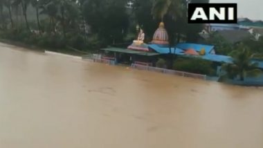 Karnataka Rains: Temple Submerged in Water Due to Overflowing of Hemavathi River in Hassan (Watch Video)