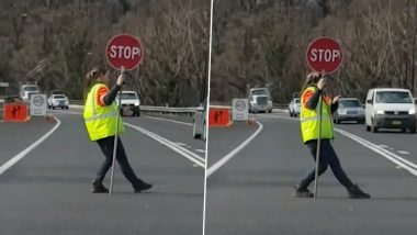 Australian Traffic Controller Dancing While Managing Vehicles on Highway Will Remind You of Moonwalking Traffic Police Officer From Indore (Watch Viral Videos)