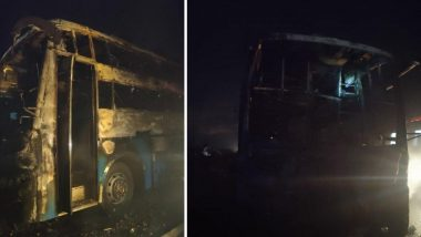Karnataka Bus Fire: 5 People Charred to Death, 27 Injured, After Their Bus Catches Fire on National Highway 4 Near Chitradurga District
