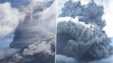 Mount Sinabung Volcano Erupts in Indonesia; Check Pics and Videos of Volcanic Ash Forming Massive Clouds and Darkness in the Sumatran Island Region