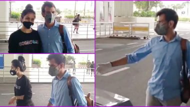 Yuzvendra Chahal, Dhanashree Verma Spotted Together for the First Time After Their Engagement; Fiancee Drops RCB Bowler at Mumbai Airport (Watch Video)