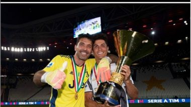 Cristiano Ronaldo Poses With Gianluigi Buffon After Winning Serie A 2019-20, Asks Fans to Guess the Number of Trophies The Youngsters Have