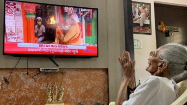PM Narendra Modi's Mother Hiraba Watches Live Telecast of Ram Temple Bhumi Pujan in Ayodhya
