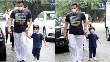 On Daddy Duty! Saif Ali Khan and Taimur Enjoy a Stroll in the City But Not Without their Masks (View Pics)