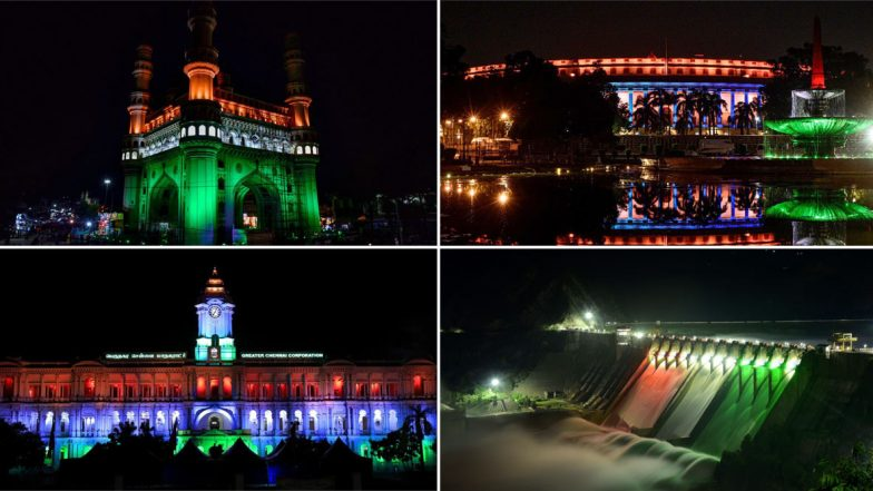 Happy Independence Day 2020 in Pics: Sansad Bhavan, Charminar and Other Iconic Places in India Light Up in Tricolour