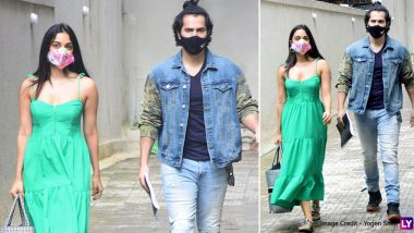 Varun Dhawan and Kiara Advani Get Clicked Together Outside Dharma Productions Office (View Pics)