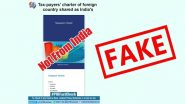 New Taxpayers Charter of India Document Shared on Social Media Is Fake; PIB Fact Check Reveals Truth Behind Viral Post