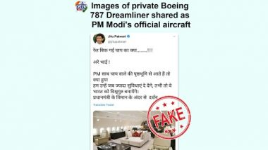 PM Narendra Modi Has a Luxurious Private Jet? Fake Image of PM's Official Aircraft Goes Viral on Social Media, PIB Reveals the Truth