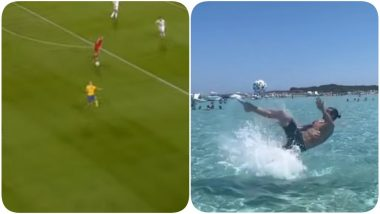 Zlatan Ibrahimovic Trolls England As he Recreates His Famous 2012 Overhead Kick In the Sea, Says 'God Save The Queen' (Watch Video)