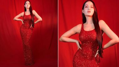 Yo or Hell No? Nora Fatehi's Shimmery Red Dress by Yousef Aljasmi
