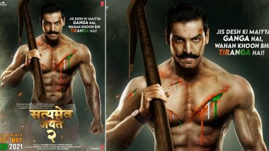 Satyameva Jayate 2: John Abraham's Next to Have an Eid Release on May 12, 2021, Actor Shares his Bare-Bodied, Mustached Look in the New Poster