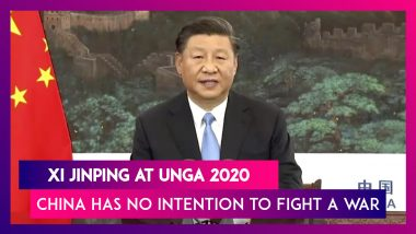 Xi Jinping At UNGA 2020: Chinese President Says China Has No Intention To Fight A War, Hot Or Cold With Any Country