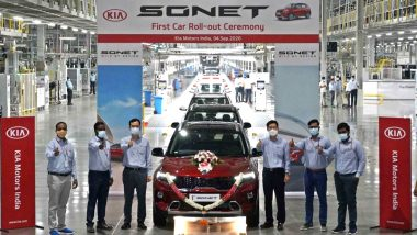 2020 Kia Sonet SUV To Be Launched in India on September 18; First Model Rolled Out From Anantpur Plant