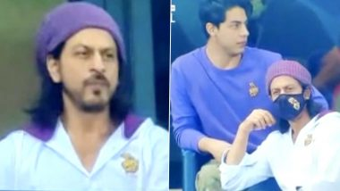 IPL 2020: Shah Rukh Khan and Aryan Khan Get Clicked as they Attend KKR vs RR Match in Dubai (View Pics)