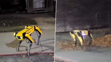 Boston Dynamics' 'Spot' Robot Dog Spotted Roaming on the Street, Viral Video of the Four-Legged Yellow Robot Ambling Down the Sidewalk Triggers Fear Among Netizens