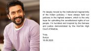 Suriya Thanks Madras High Court After 'Contempt of Court' Petition Against Him Over NEET Exams Comments Is Dismissed (View Post)