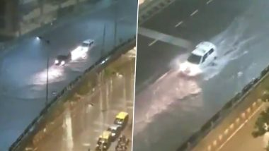 Unverified Video of Waterlogged Flyover Amid Heavy Rainfall Goes Viral on Social Media! Netizens Claim It to Be JJ Flyover in Mumbai
