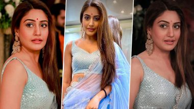 Surbhi Chandna as Bani From Naagin 5 Looks Glamorous In Powder Blue Saree! (View Pics)