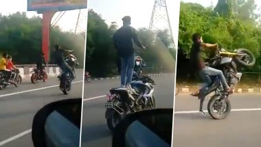 Bikers in Delhi Caught Performing Daring Stunts on Road Near Vikas Marg; Watch Video