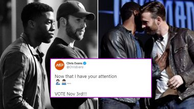 Chris Evans' 'Vote On Nov 3rd' Post Becomes The Most Liked Tweet Of The Actor After His Eulogy For Chadwick Boseman