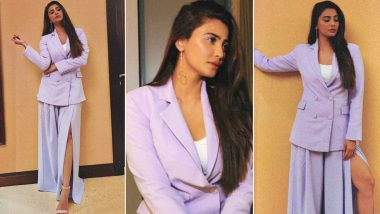 Daisy Shah Is Giving the Good Old Pantsuit a Sassy Spin With a Side Slit Lavender One by Ohailia Khan!