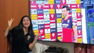 Yuzvendra Chahal's Fiancee Dhanashree Verma Dances as Leg-Spinner Receives Man of the Match Award After SRH vs RCB IPL 2020 Match (Watch Video)