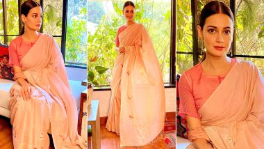 Dia Mirza Is Pretty Chic in Pink, Her Jamdani Saree Looks Like a Subtle Festive Must Have!