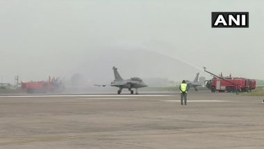 Rafale Induction Ceremony: Water Cannon Salute Given to Aircraft After Air Display at IAF Airbase in Ambala (Watch Video)