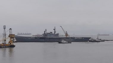 INS Viraat Moves Out of Naval Dockyard in Mumbai on Final Journey to Shipbreaking Yard at Alang; Know All About India's Longest-Serving Aircraft Carrier; See Pics And Videos