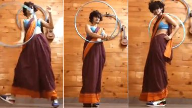 Saree. Sneakers. Hula Hoop! 23-Yr-Old Eshna Kutty Dancing to Sasural Genda Phool For #SareeFlow Trend Is a Perfect Symphony of Grace and Music (Watch Viral Video)