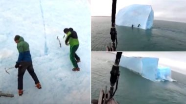 Giant Iceberg Flips Upside Down Pushing Explorers Scaling it Into Freezing Cold Arctic Waters! TERRIFYING Video Goes Viral