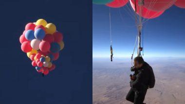 Illusionist David Blaine Flies Over the Arizona Desert Holding 52 Helium Balloons, Live Stunt 'Ascension' Breaks YouTube Record (Watch Video)
