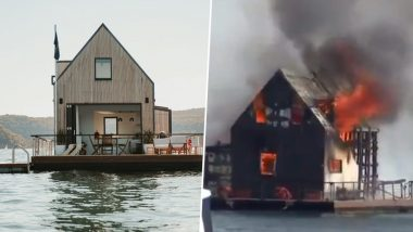 Luxury Floating Villa Worth $1450-a-Night in Sydney Goes Up in Flames, Accidental Fire Forces Two People to Jump Into Water (Watch Video)